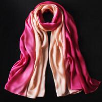 冬天苏州丝绸围巾渐变色丝巾女百搭冬季薄长款纱巾