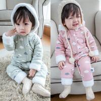 婴儿加厚加绒连体衣秋冬满月男宝宝爬服女3-6个月新生儿哈衣冬装