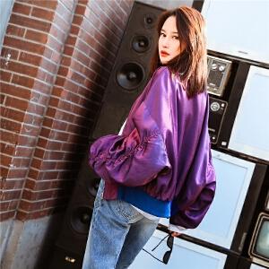 七格格怪味少女外套女春秋春季新款韩版宽松bf原宿风紫色棒球服