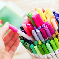 包邮得力70661 可水洗100色水彩笔 学生水彩笔文具108支桶装(内赠8支荧光笔)