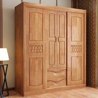 实木衣柜简约中式推拉滑移门大容量两门四门衣柜卧室多功能储物柜 4门 组装