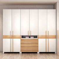 北欧小户型板式组装衣柜经济型组合衣柜简约现代推拉门省空间衣橱 6门以上 组装