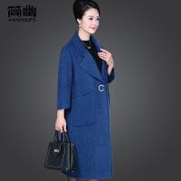 中老年女装冬装时尚毛呢大衣中长款气质妈妈装大码双面呢子外套潮