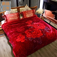 9斤冬季加厚双层保暖拉舍尔毛毯中式婚庆毯子双人法兰绒床单云毯定制