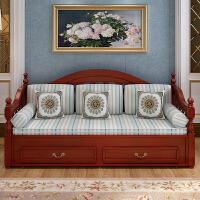 欧式沙发床实木可推拉坐卧两用单双人多功能可折叠小户型沙发床 1.8米-2米