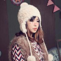 甜美可爱兔毛套头帽时尚韩版保暖帽球球护耳帽女皮草帽子