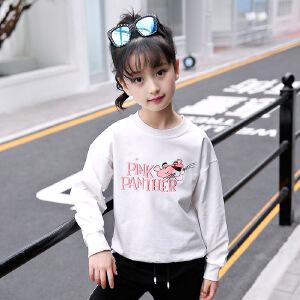 乌龟先森 儿童卫衣 女童秋季韩版新款圆领长袖字母卡通印花T恤衫时尚舒适百搭中大童款式套头打底衫