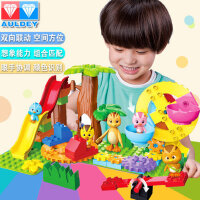正版奥迪双钻萌鸡小队维思积木朵朵麦奇欢乐游乐园场儿童套装玩具