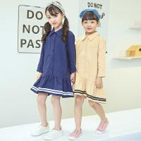 2018春新款韩版童装女童海军学院风连衣裙中大儿童长袖裙子