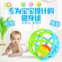 谷雨儿童软胶健身运动婴儿手抓铃铛声光球摇铃学爬行玩具