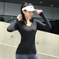 宽松连帽运动上衣女健身速干衣长袖T恤V领显瘦跑步罩衫瑜伽服