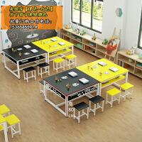 小学生辅导班双人绘画美术培训桌学校教室课桌椅书法学习桌椅组合 双层【黑配黄】长120宽120高80 标注为单桌价