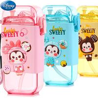 迪士尼儿童吸管水杯宝宝幼儿园夏季冷水壶防漏小学生方形背带杯子