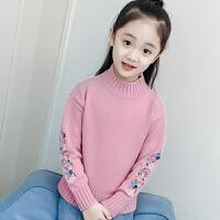 女童毛衣套头针织衫装儿童半高领刺绣打底衫宝宝中大童装