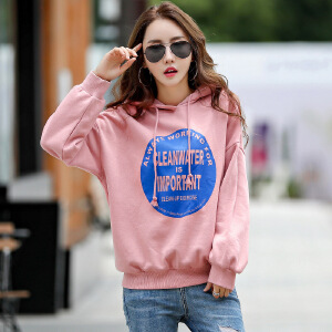 新款韩版女装秋装加绒宽松连帽上衣潮卫衣长袖外套时尚
