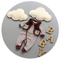 婴儿连体衣秋冬开衫加厚加绒满月男宝宝马甲套装0-3-6个月哈衣潮9