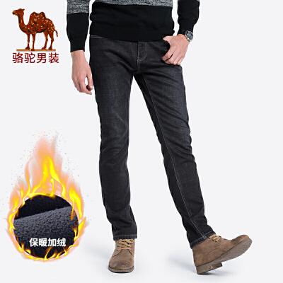 骆驼男装 秋冬新款青年时尚中腰直筒微弹加绒加厚黑牛仔裤男
