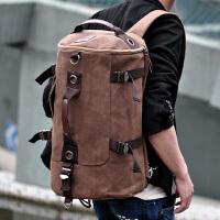 男士多功能旅行包圆筒双肩包手提单肩背包青年大容量旅游包行李包 中