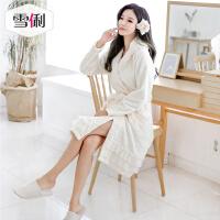 雪俐睡袍女士珊瑚绒睡衣秋冬季法兰绒浴袍家居服韩版公主风居家服