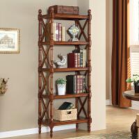 简约美式实木书架置物架落地欧式厨房多层隔板储物收纳架组合