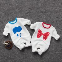 婴儿冬装新生儿外出抱衣服0-3个月男女宝宝6秋冬季睡衣哈衣连体衣