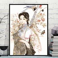 新中式山水客厅装饰画diy数字油画 艺术背景墙壁画餐厅海报挂画