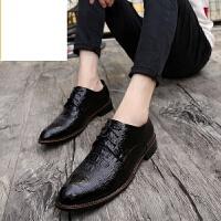 新品男士鳄鱼纹皮鞋尖头商务正装男鞋系带内增高婚鞋青年英伦韩版休闲