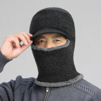 户外保暖护脸帽男士帽子中老年人毛线帽男围巾一体针织帽