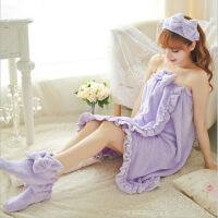 【亏本包邮】泰蜜熊可爱时尚柔软吸水易清洗珊瑚绒束发带浴裙地板袜三件套