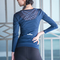 美背紧身运动上衣女健身训练长袖T恤学生跑步速干衣透气瑜伽服