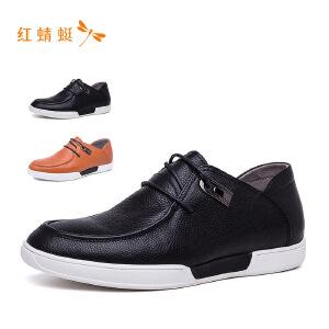 【专柜正品】红蜻蜓金属装饰系带圆头休闲男单鞋