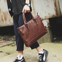 韩版新款商务男包手提包 潮流时尚公文包 休闲街头电脑单肩斜跨包 黑色