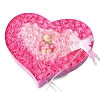 浪漫礼品毛绒小熊心形玫瑰香皂花 玫红色 92朵