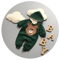 婴儿衣服冬季新生儿连体衣秋冬加厚加绒3-6个月9男宝宝哈衣爬爬服