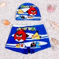 男童泳裤泳帽套装 儿童泳衣平角分体游泳衣小孩宝宝婴儿游泳裤