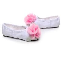 儿童舞蹈鞋女软底带花朵帆布猫爪芭蕾舞鞋体操瑜伽形体练功鞋