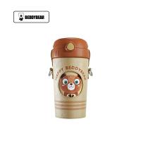 【限时秒杀】杯具熊(BEDDYBEAR)酷儿系列儿童吸管杯卡通便携背带保温大肚杯水壶520ml 礼物熊