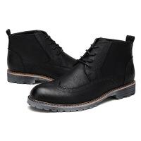 秋冬新款男士马丁靴短靴复古英伦男靴子工装靴高帮休闲内增高皮鞋
