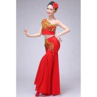 傣族舞蹈演出服装 孔雀舞蹈演 出服女包臀长 款鱼尾裙 民族服装送头花 弹力修身