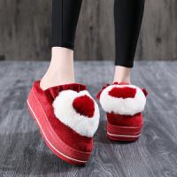 5厘米高跟防水台棉拖鞋女包跟可爱居家冬季厚底加绒毛拖
