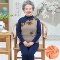 中老年保暖内衣 中老年黄金绒两件套2020冬季新款加绒加厚保暖内衣打底套装