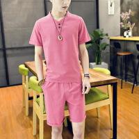 男装夏季新品男式运动T恤套装 青年修身棉麻男士休闲日系短裤