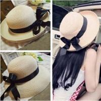 女士大檐蝴蝶结太阳帽子 海边游玩遮阳帽可折叠防晒帽子 大沿帽草帽