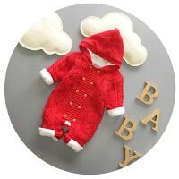 婴儿衣服婴儿连体衣秋冬加厚抓绒男宝宝连体毛衣3-6-9个月爬爬服