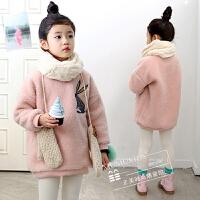 女童羊羔绒外套秋冬款童装韩版中大童套头加厚卫衣儿童加绒打底衫