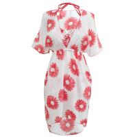 游泳衣女分体裙式三件套时尚性感钢托舒适比基尼保守遮肚泳装 西瓜红 M