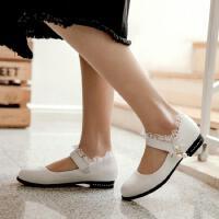 儿童皮鞋黑色真皮公主单鞋中大童小学生校鞋表演出鞋女童白色皮鞋