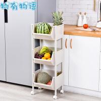 厨房置物架 创意大开口卫生间浴室多层带轮带挂钩蔬果收纳夹缝架