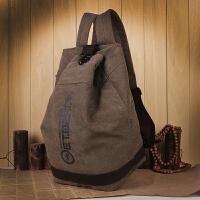 双肩包男士时尚潮流韩版学生书包帆布水桶包休闲旅行背包大容量包 咖啡色 现货供应
