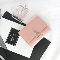 新款 韩国女士小钱包新款 韩版时尚潮三折短款钱夹女生学生 粉红色 qa801粉色